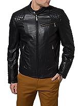 HugMe.fashion Men's Leather Jacket (JK89_Black_XS, Black, XS)