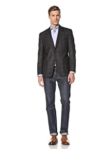 Tallia Men's Varga Yarn Dyed Subtle Plaid 2-Button Jacket (Black/Blue)