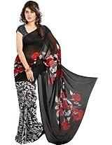 Vaamsi Women Chiffon Saree (Rolex3042 _Black _Free Size)