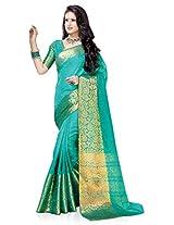 Meghdoot Artificial Silk Saree (ETHNIC_MT1366_SHADEDRAMA Woven Turqouise Green Colour Sari)