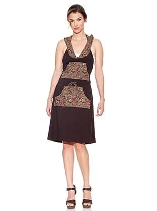 Mahal Vestido Hojas (Marrón Oscuro)