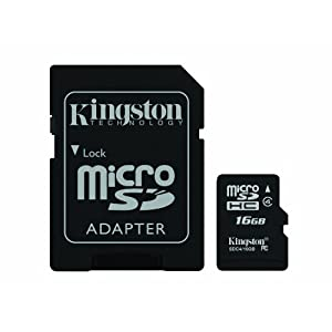 Kingston Digital 16 GB Class 4 microSDHC Flash Card with SD Adapter (SDC4/16GBET)