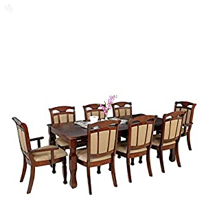 Style Spa Dining Table Set with Eight Chairs Solid Wood - Bahamas Honey Brown Finish