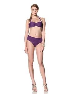 diNeila Women's Halter Neck Bikini With Brief Bottoms (Petunia)
