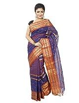 B3Fashion Traditional Bengal Handloom Cotton Tant/Tangail Royal Blue coloured saree