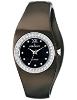 Peugeot Women's PS272BK Swiss Black Plated Stainless Steel Swarovski Crystal Accented Cuff Watch
