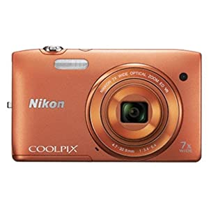 Nikon Coolpix S3500 20.1MP Point-and-Shoot Digital Camera (Orange) with 4GB Card, Camera pouch