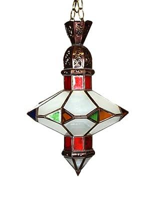 Badia Design Brass Saucer Multi-Color Glass Shade