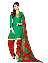 Suchi Fashion Turquoise & Red Printed Crepe Dress Material