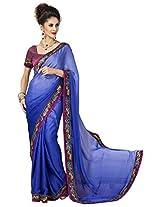 Sthri blue party wear or wear faux georgette saree (STHASKDS107 , Blue)