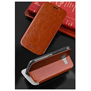 For Nokia Lumia 535 Phone Premium Leather Slim Flip Cover Case with Stand by MOFI - Brown