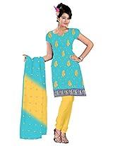 vardhman Sky Blue Chanderi Straight Dupata Work Dressmaterial Suit.