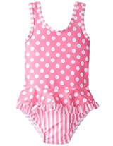 Flap Happy Baby Girls' Stella Ruffle Back Bow Suit with Swim Diaper, Candy Punch, 24 Months