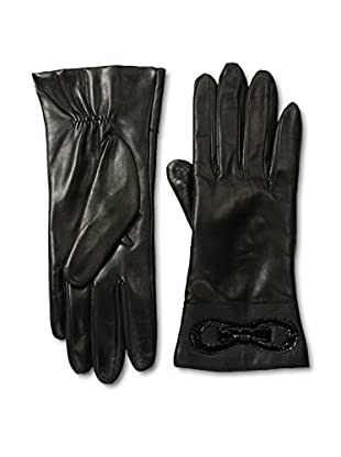 Portolano Women's Cashmere Lined Leather Gloves with Patent Bow (Black/Black)