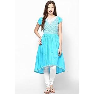 Blue High Low Hem Cotton Anarkali With Embroidered Yoke