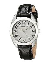 Anne Klein Womens AK/1399MPBK Silver-Tone Easy-to-Read Dial Black Leather Croco-Grain Strap Watch