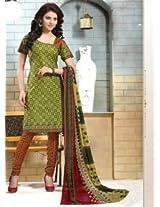 Saara Green Printed Dress Material - 144D4037