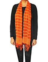Silk Blended Fashion Scarf Womens Neck Wrap Gift (Orange, 66 x 16 inches)