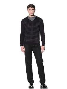 Cruciani Men's V-Neck Knit Sweater (Dark Violet/Grey)