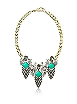 Stella & Ruby Turquoise-Hued Jeweled Feather Necklace