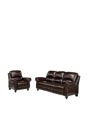 Abbyson Living Herzina Leather Pushback Reclining Sofa & Chair, Burgundy