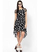 Crazy In Love Heart Print Hi-Low Black Dress