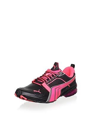 PUMA Women's Cell Gen Fluo Running Shoe (Black/Fluorescent Peach/Aged Silver)