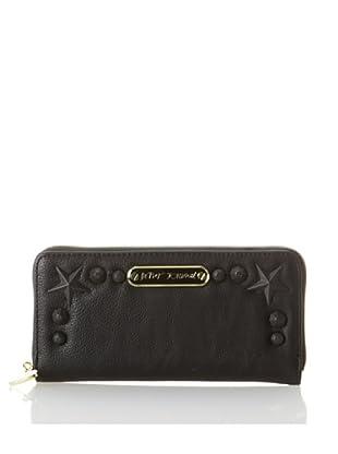 Betsey Johnson Women's Totally Tonal Zip Around Wallet, Black