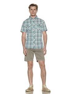 Nüco Men's Shorts Sleeve Woven Plaid Shirt (Turquoise)