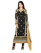 Clickedia Womens Faux Georgette Anarkali Dress Material (36009-Eliza4 _Black _Free Size)