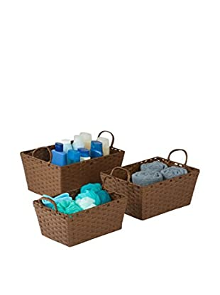 Honey-Can-Do Set of 3 Paper Rope Baskets, Brown
