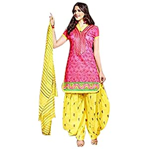 Pink Chandery Top With Cotton Bottom & Silk Dupatta Printed Work & Embroidery Unstitched Punjabi Patiala Salwar Kameez Suit