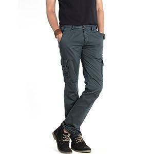 Basics Casual Plain Green 100% Cotton Tapered Cargo Pants 13BCT29343