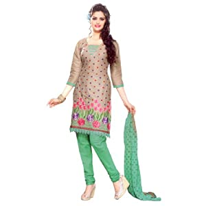 SGC- Fawn & Green Colour Cotton unstitched Churidar Kameez with dupatta- SV-5113