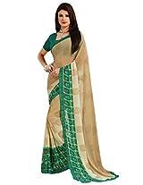 Inddus Women Beige & Green Shaded Printed Georgette Saree