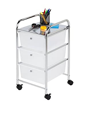 Honey-Can-Do 3 Drawer Rolling Cart, White/Chrome