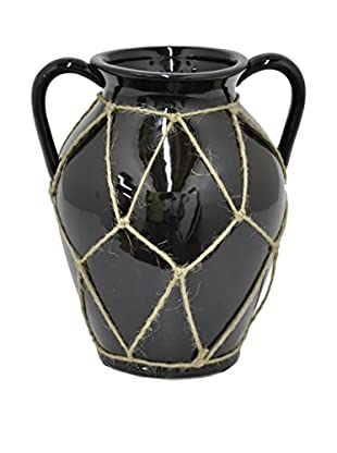 Three Hands Large Ceramic Pot with Rope Detail, Black