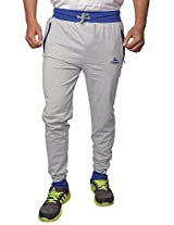 Finger's Mens Cotton Sports Trousers (Tpgbl _Grey-Blue _Free Size)