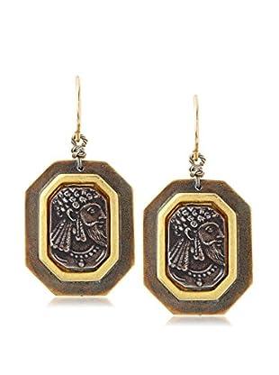 Linda Levinson Two Tone Rectangular Coin Earrings