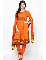 Orange Printed Churidar Kameez Dupatta