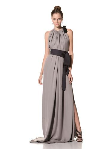 Juan Carlos Obando Women's Sleeveless Belted Long Dress (Ash Lavender)