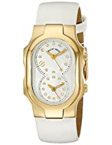 Philip Stein Womens 1GP-NGDMOP-IW Signature Stainless Steel Watch with White Leather Band