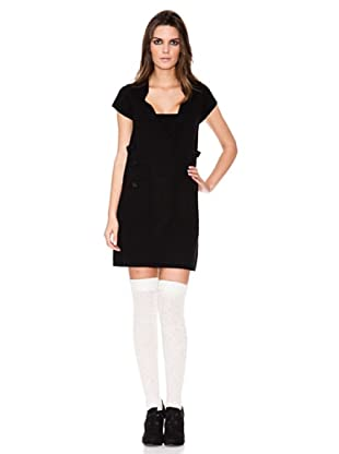 Indi Vestido Punto Manga Corta (Negro)