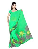 Sonal Trendz Green Color Printed Georgette Saree with Blouse