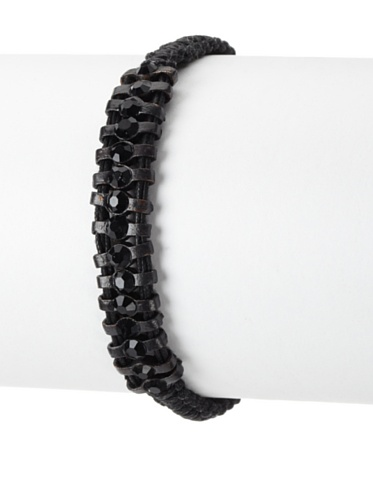 Shashi One Row Original Adjustable Bracelet, Black Gold/Black Crystal