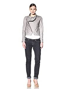 Hare + Hart Women's Schiller Leather Jacket (Dove)