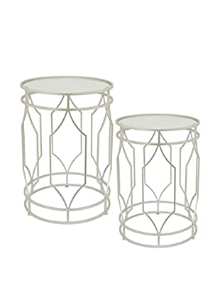 Three Hands Set of 2 Contemporary Metal Beveled Mirror Side Tables