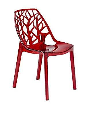 LeisureMod Modern Cornelia Dining Chair, Transparent Red