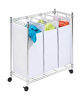 Honey-Can-Do Urban Rolling Laundry Center, Chrome, Triple-Sorter, Large