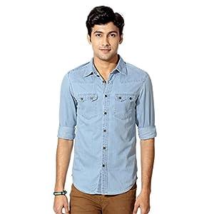 People Western Style Shirt - Light Blue
